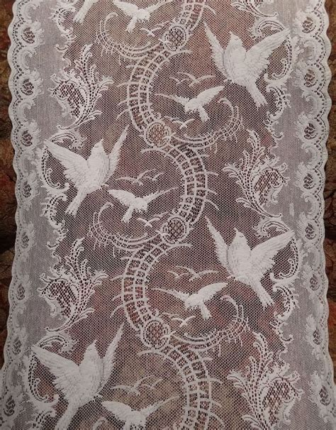 Vintage Lace Curtains Beautiful Antique Filet Lace Curtain Pair With Bird Motif Lace Edgings Etc