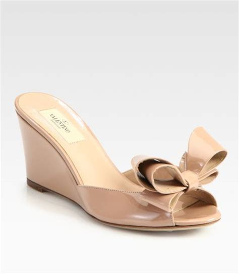 pale pink wedge sandals valentino couture patent leather bow wedge sandals in pink