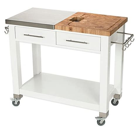 kitchen work islands chris chris pro chef kitchen island work station in white bed bath beyond