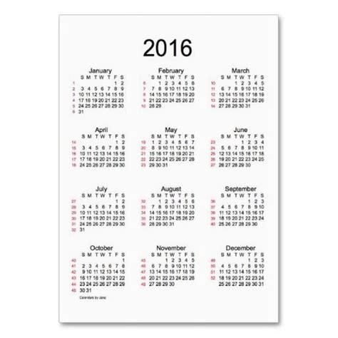 52 Week Calendar 52 Week Calendar 2016 Business Cards Any Everything You
