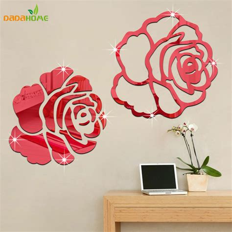 wall decoration at home rose 3d mirror wall stickers for wall decoration diy home