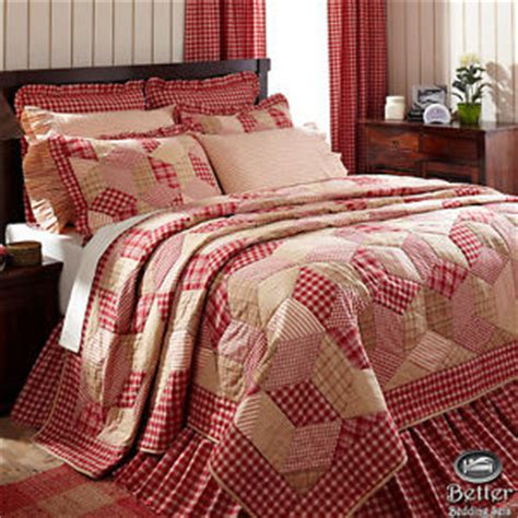 country chic bedding red cream plaid patchwork chic french cottage country home
