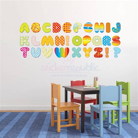 colourful wall stickers colourful 26 alphabet letters wall decal alphabet wall
