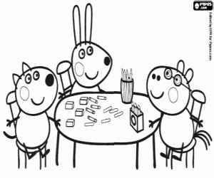Friends Of Peppa Pig At The Table Coloring Page sketch template