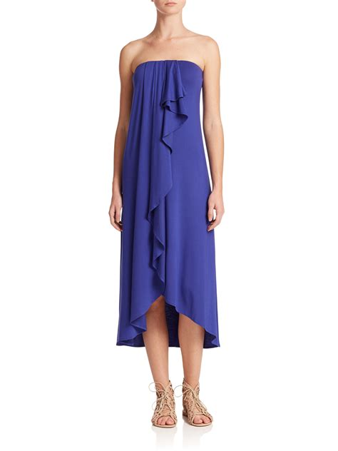 Strapless Frill Dress In The Style Of Miller by Ella Moss Strapless Ruffle Midi Dress In Blue Lyst