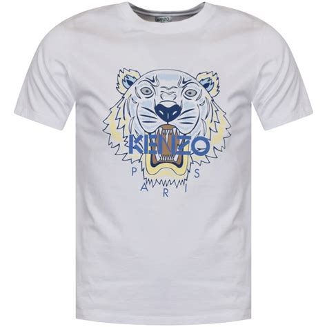 Tshirt White Tiger kenzo kenzo white blue tiger logo t shirt from brother2brother uk