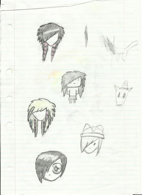 emo hairstyles drawing emo scene hairstyles by echo moonsky on deviantart