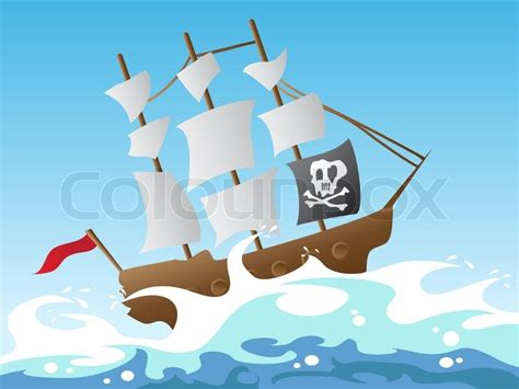 barco en una tormenta dibujo pirate ship stock vector colourbox