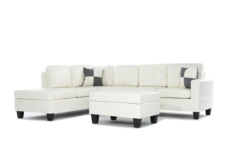 3 piece sectional with chaise 3pc bonded leather white modern reversible sectional couch