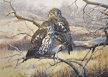 morning comes softly barking owls painting by lyn ellison