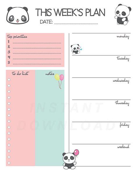 printable planner kawaii panda weekly planner printable weekly planner cute