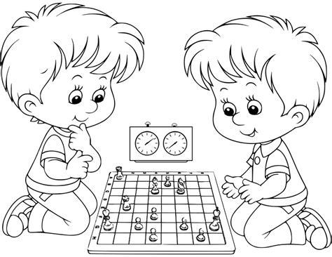 imagenes de niños jugando para colorear clipart chess coloring book dibujo ajedrez para