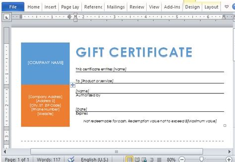 Printable Gift Certificates Template For Word Gift Certificate Template Powerpoint