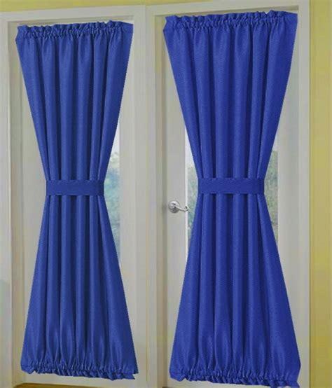 solid royal blue door curtain panels