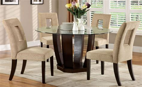 Glass Top Dining Room Set by West Palm I Espresso Glass Top Pedestal Dining Room