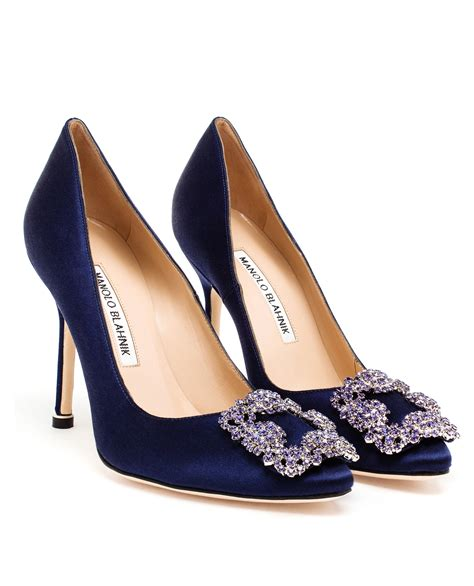Manolo Blahnik Poppy Heels by Lyst Manolo Blahnik Hangisi Embellished Satin Pumps In Blue