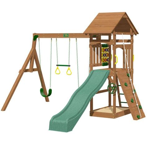 8 swing set playtime riviera swing set with 8 ft green wave slide