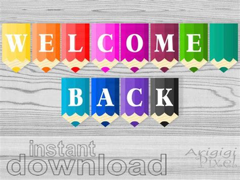 Welcome Back Printable Banner Colored Pencils Classroom Pennants Back To School Decorative Free Printable Welcome Banner Template
