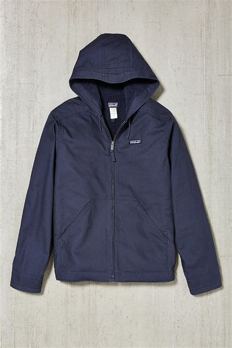 Navy Jaket Jaket Kanvas patagonia lined canvas hooded jacket in blue for lyst