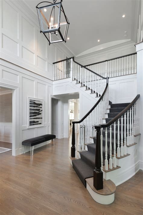 Foyer Staircase Staircase Board And Batten Transitional Entrance Foyer