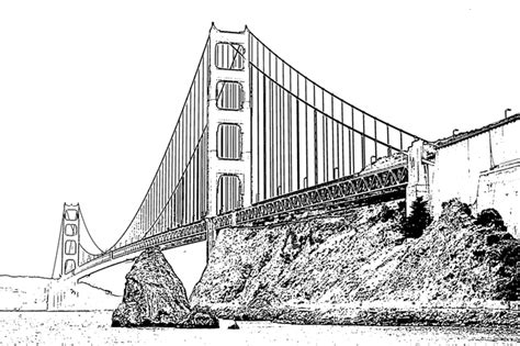 golden gate bridge free printable coloring pages