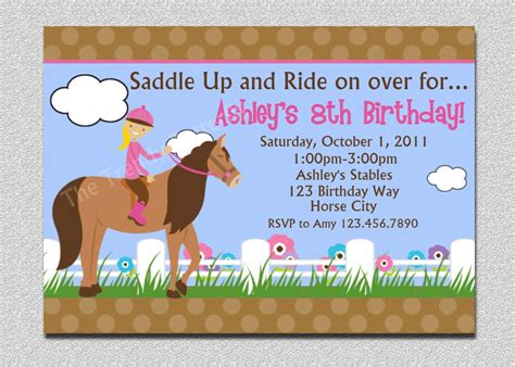 printable birthday invitations horse theme birthday invitations free printable horse birthday