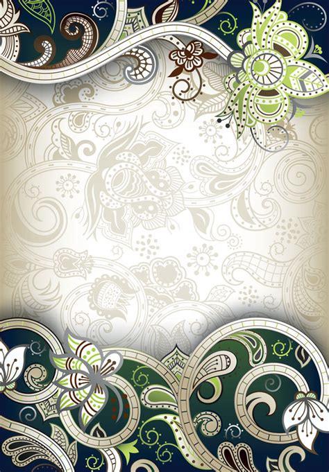 wallpaper classical elements elements of ornate floral frame vector 02 vector floral