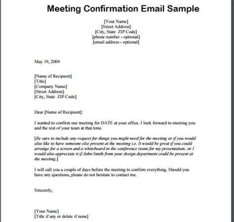 Confirmation Letter By Email Meeting Confirmation Email Writing Professional Letters