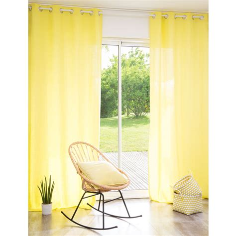 yellow linen curtains washed linen eyelet curtain in yellow 110 x 250cm