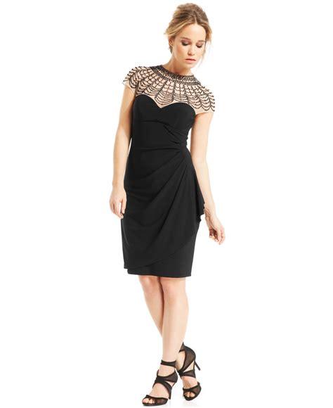 xscape beaded illusion yoke cocktail dress in black lyst