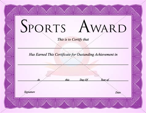 sport certificate templates for word sports certificate template certificate templates
