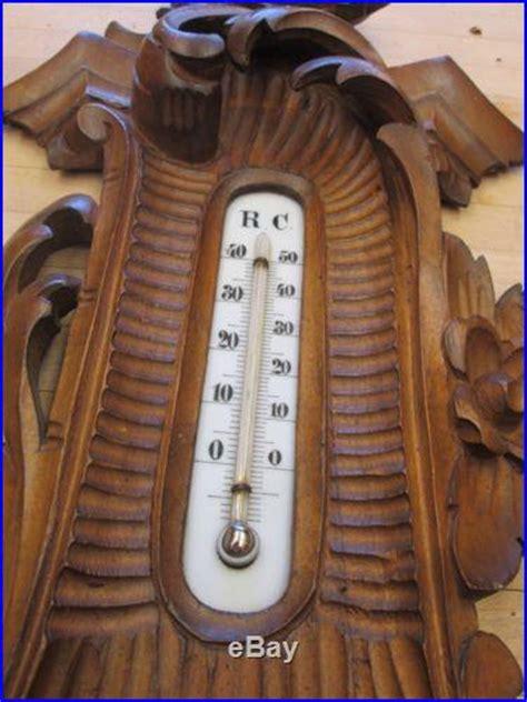 antique hand carved black forest wood dutch barometer