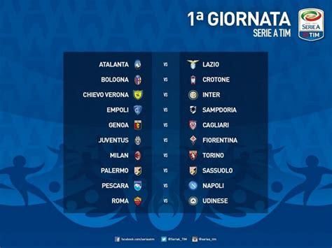 Calendario 1 Giornata Serie A Calendario Seria A 2016 2017 Diretta Live Il Sorteggio