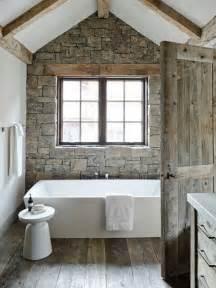 Cottage bathroom stone wall rustic bath industrial design