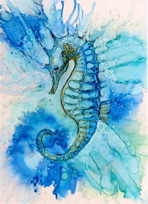 watercolor tattoo virginia beach beautiful seahorse ink on yupo helen cook