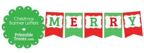 Merry Christmas Polka Dot Banner Letters Printable Treats Com Merry Banner Template