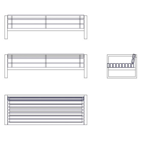 bench cad block 2d model timber bench urban seat cad block cadblocksfree