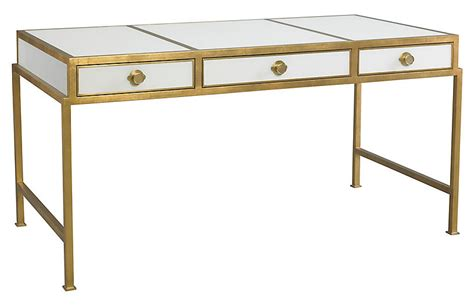 gold and white writing desk clifton writing desk gold white lillian august brands