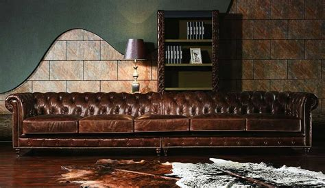 6 Foot Sofa vintage leather chesterfield extra large sofa luxury
