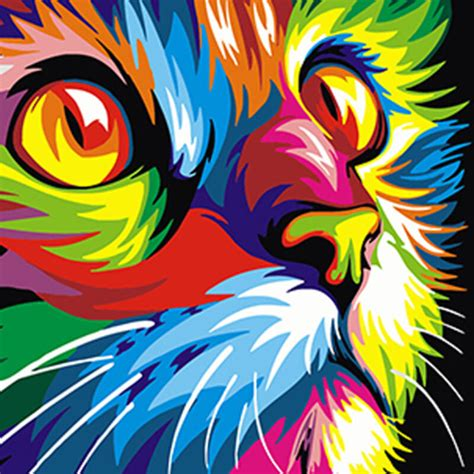 colorful cats colourful cat diy paint by numbers trendibits