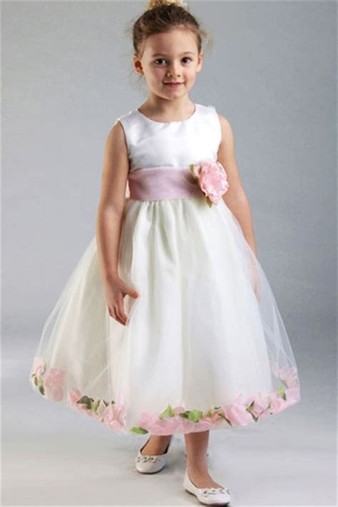 satin bodice with petal flower dress