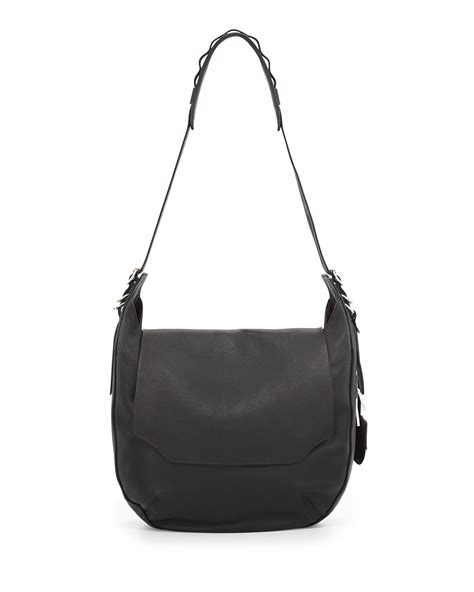 F L Hobo 585 A372 rag bone bradbury leather flap hobo bag in black lyst
