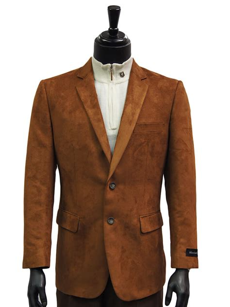 Blazer Anime One Ultimate afazzy mens cognac micro suede notch lapel two button dress casual work blazer ultimate menswear