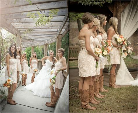 Wedding Dresses With Boots by Rustic Wedding With Bridesmaids In Cowboy Boots Rustic
