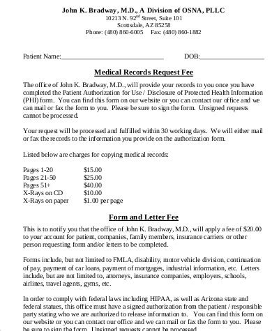 sample medical records request forms ms word