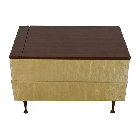90 Off Vintage Ottoman Coffee Table With Storage Storage Storage Coffee Table Ottomans