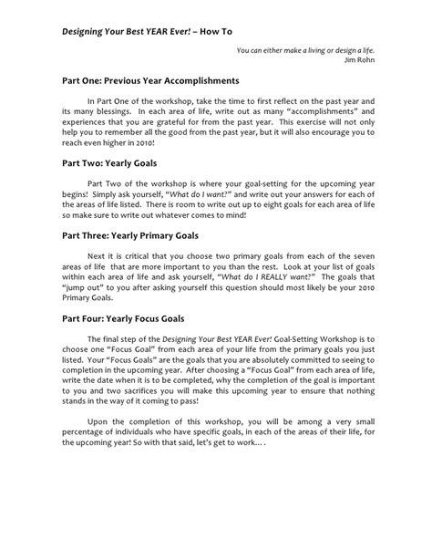 Jim Rohn Goal Setting Worksheet by Designing Your Best Year Goal Setting Workshop