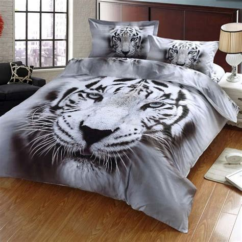 white tiger bed set tiger 3d bedding sets printed 3d tiger bedding covers sctrending