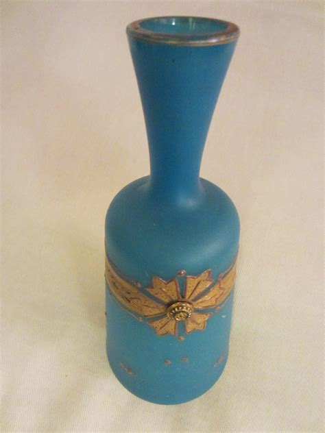 Blue Vases For Sale by Blue Glass Vases Gold Ornamentation For Sale