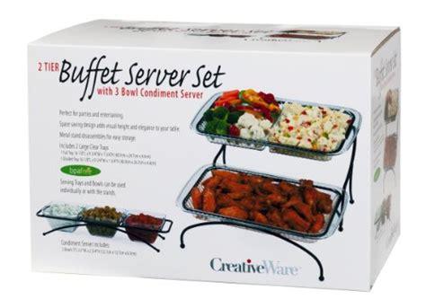 creativeware 2 tier buffet server with bonus 3 section